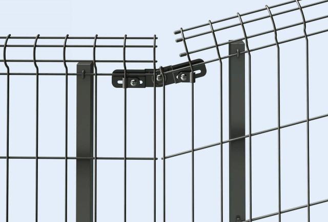 ↑イーネット フェンス2F2FK型〈自由柱タイプ 水平地用と傾斜地用の連結部 TM_部分_XFXX0611