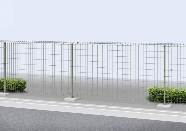 ↑イーネット フェンス1F型水平地用 スチール自由柱施工 T120 O1_商品単体外観_XFO10342