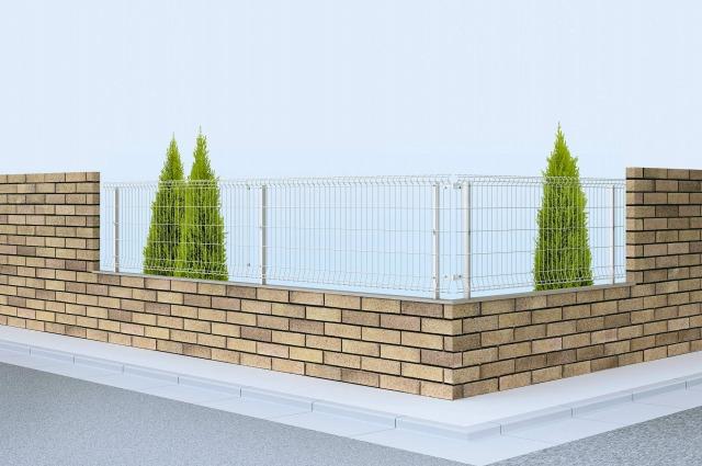 ↑イーネット フェンス2F型〈水平地用 アルミ自由柱施工 T80 OZ_商品単体外観_XFOZ0424